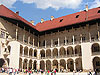 Courtyard of Wawel Royal castle in Cracow, Poland