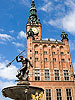 Neptune statue and Town Hall in Gdansk, Poland