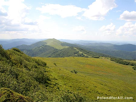 Panoramic view of Bieszczady Mountains
