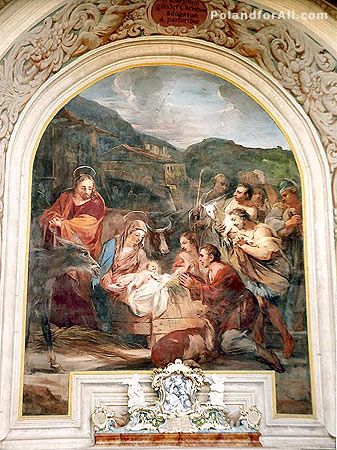 Jesus birth painting in Church of St Joseph in Krzeszow abbey