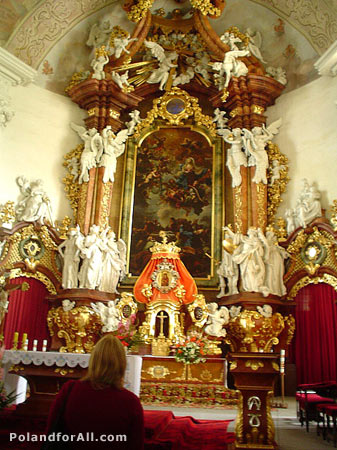 Main altar in Church of St Joseph in Krzeszow abbey