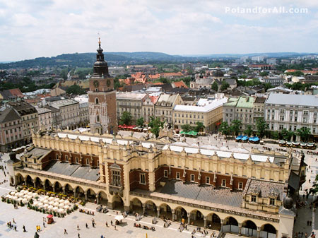 Market Square in Cracow - Cloth hall (Silk market) and Town Hall tower