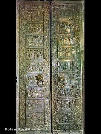 Pair of Romanesque bronze doors from Gothic cathedral in Gniezno