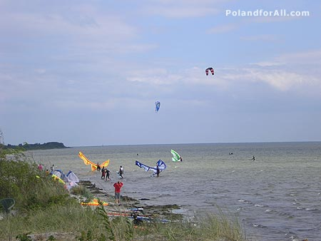 Kitesurfing in Hel Peninsula, Poland
