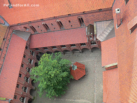 Aerial view of courtyard of the high castle Malbork