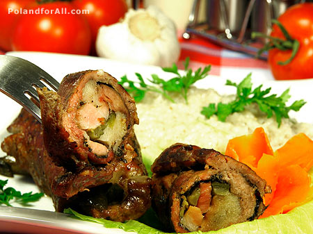 Beef roulades filled with bacon, onion and pickled cucumbers