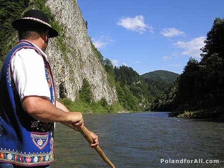 Rafting on the Dunajec in the Pieniny Mountains.