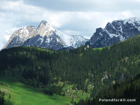 Giewont and wielka turnia in tatra mountains
