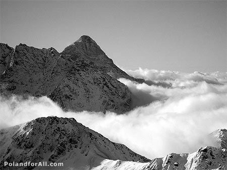 Tatra Mountains, peaks in clouds.