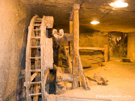 Old mine equipment in Wieliczka Salt Mine
