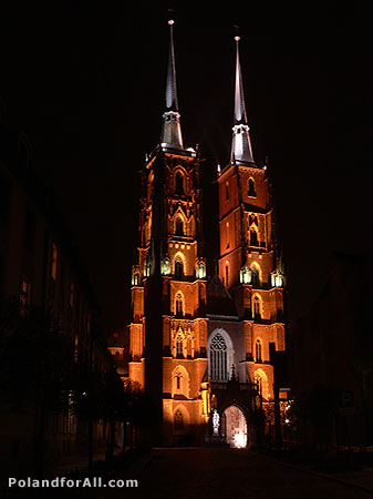 The St. John the Baptist cathedral - night view