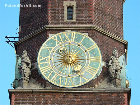 Town hall clock in Wroclaw